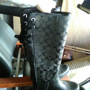 Coach Shoes - coach tristee rainboots rain boots tie lace up  6